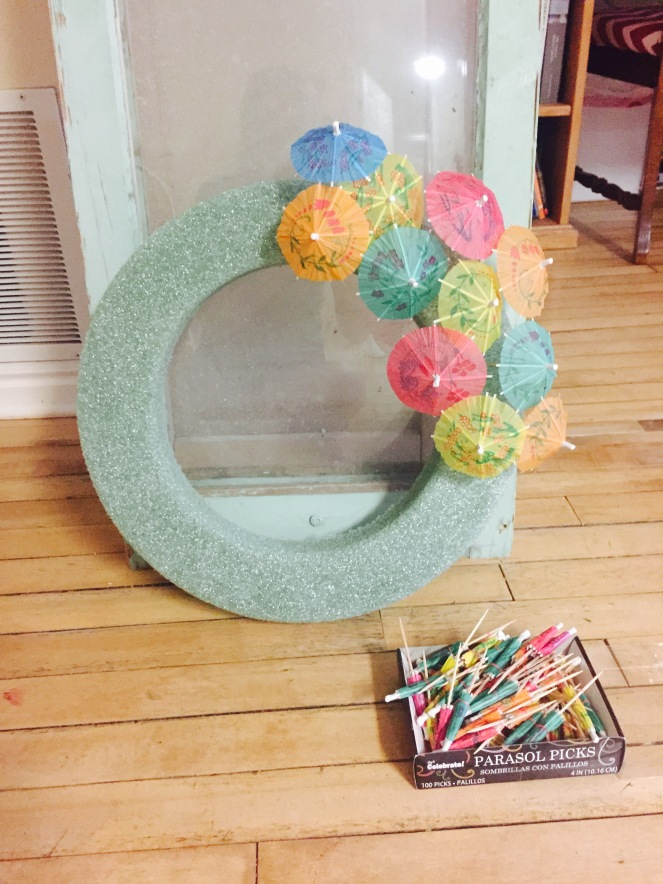 Beginning Cocktail Umbrella Wreath