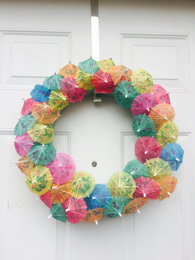 Completed Cocktail Umbrella Wreath