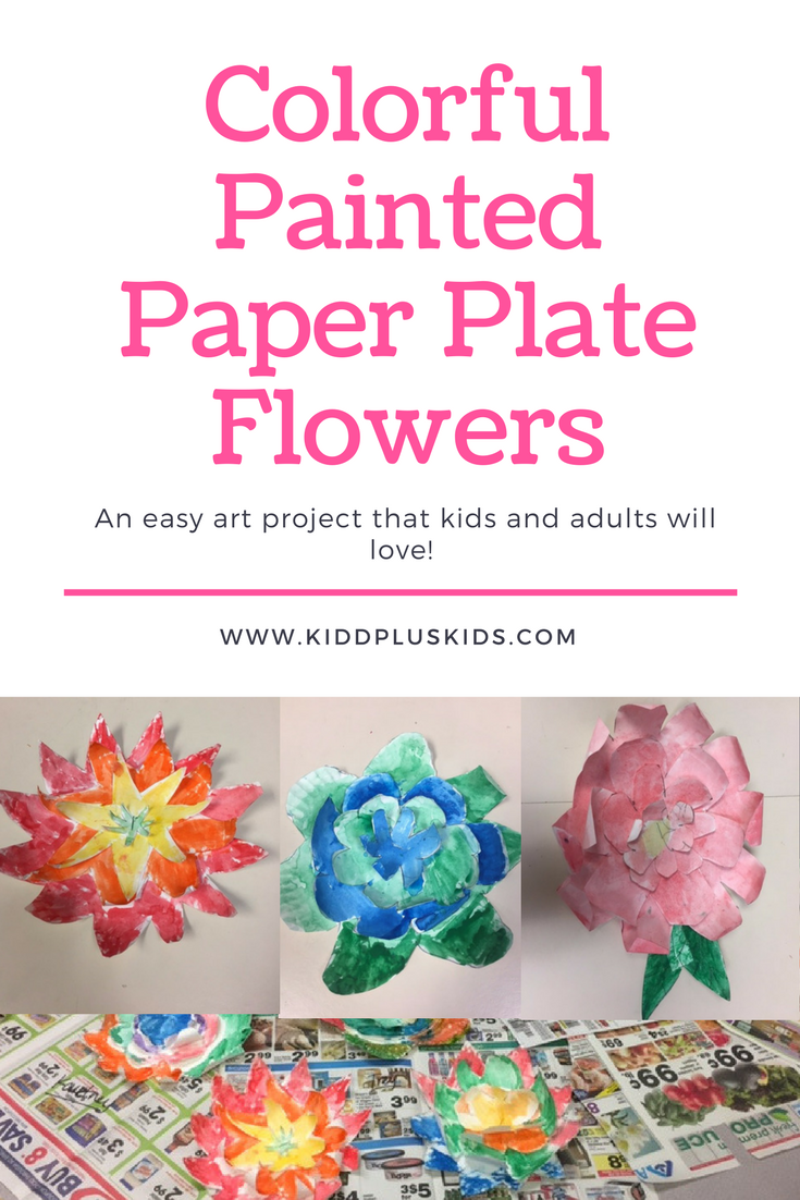Colorful painted paper plate flowers kidd kids for Painted paper flowers
